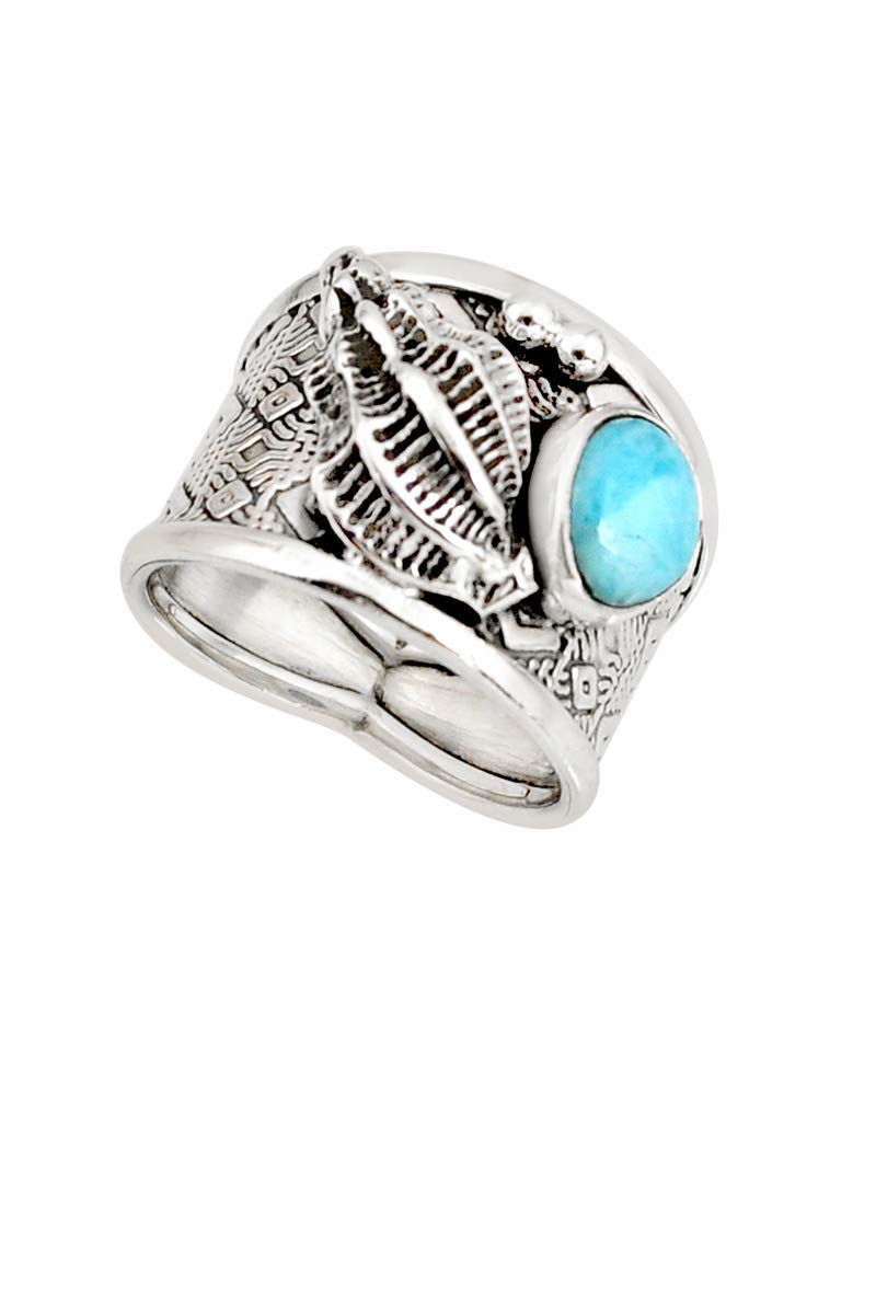 925 Sterling Silver Bohemian Solitaire Ring Linked with 5.1 Carat Natural Blue Larimar Gemstone